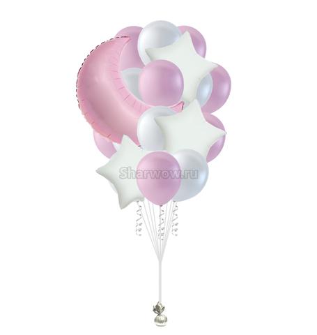 Букет воздушных шаров в розово-белых тонах
