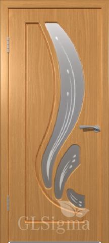 Дверь GreenLine Sigma-82, стекло матовое с фьюзингом, цвет миланский орех, остекленная