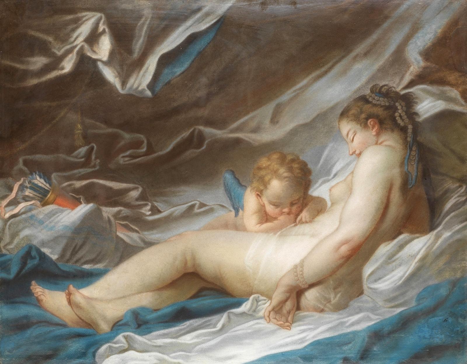 Франсуа Буше. Венера и Амур (Venus and Cupid). 56 х 71. Пастель. Частное собрание.