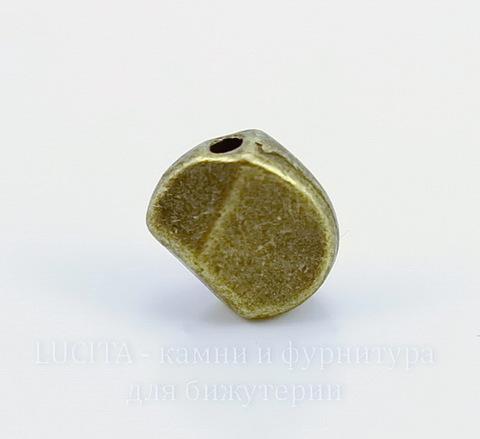 """Бусина металлическая """"Фриформ"""" 9х9 мм (цвет - античная бронза)"""