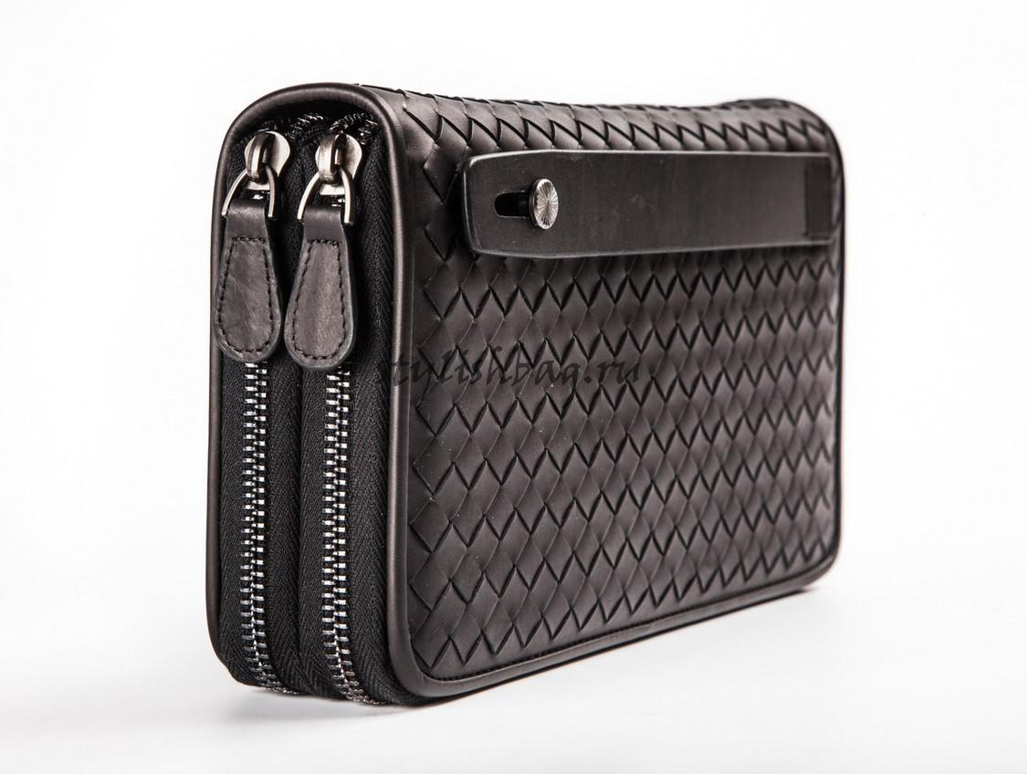 2cf74106c03a Купить мужской кошелек Bottega Veneta Double Zip Around Black в ...