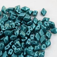 Бусина DiamonDuo mini Ромб с 2 отверстиями, 6х4 мм, сине-зеленая