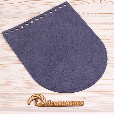"Клапан для сумочки кожаный ""Темно-синий"" 15,5*19 см"