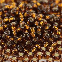 Бисер 8/0 Preciosa прозрачный коричневый с серебряным центром