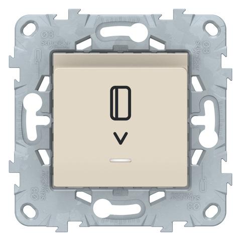 Выключатель карточный с подсветкой. Цвет Бежевый. Schneider Electric Unica New. NU528344