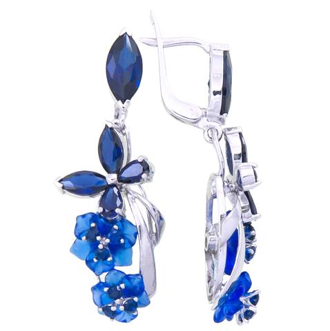 Серьги с цветами из синего кварца и сапфиром Арт.2233сс