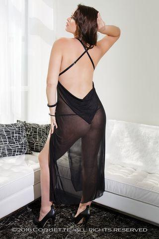 Полупрозрачная сорочка с кружевным лифом и открытой спинкой