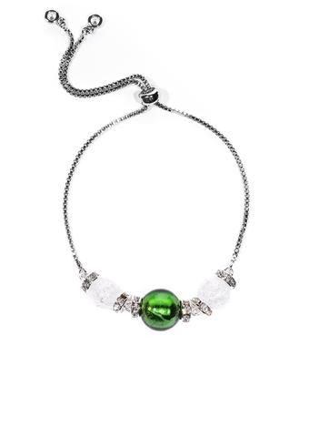 Браслет со стразами Franchesca Ca'D'oro Green Silver 030