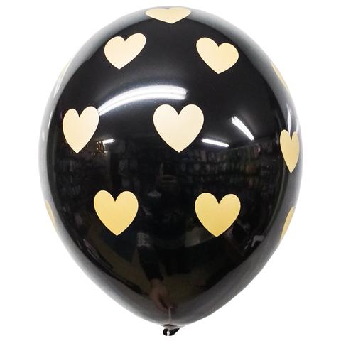 Воздушный шар с Золотыми Сердцами (Черный)
