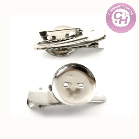 Основа для броши круглая 1,9 см + заколка + иголка, 2 шт, металлическая.