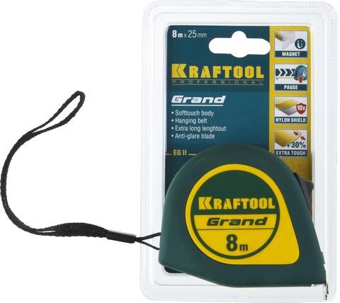 KRAFTOOL GRAND 8м / 25мм рулетка с ударостойким корпусом (ABS) и противоскользящим покрытием