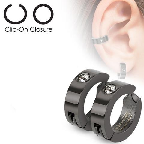 Клипсы кольцо чёрные мужские из ювелирной стали с фианитом SPIKES SFE-13529К
