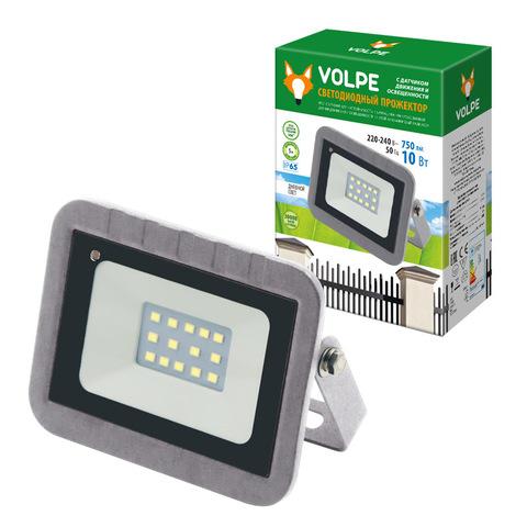 ULF-Q592 10W/DW SENSOR IP65 220-240B SILVER Прожектор светодиодный с датчиком движения и освещенности. Дневной свет (6500K). Корпус серебристый. ТМ Volpe.