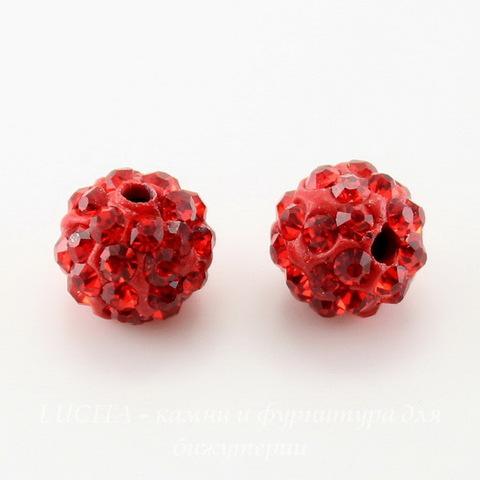 Бусина для шамбалы с фианитами, цвет - красный, 8 мм ()