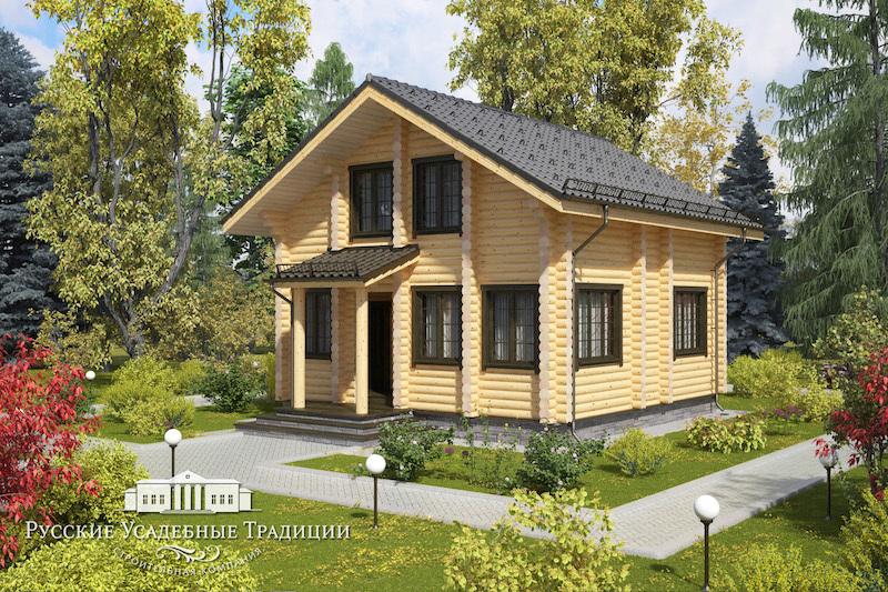 """Проекты домов «Шале» из бруса Проект двухэтажного дома """"Оптимум"""" 98 кв.м. KREPYSH_bez_terrasy_03_logo.jpg"""