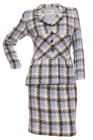 Эффектный твидовый костюм в крупную клетку, 38-40 размер