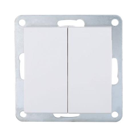 Выключатель двухклавишный (схема 5) 16 A, 250 В~. Цвет Белый. LK Studio LK80 (ЛК Студио ЛК80). 841104