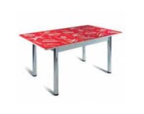 Стол обеденный Грация с микролифтом стеклянный прямоугольный красный