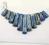 Комплект из 11 подвесок Яшма Императорская (прессов.,тониров) цвет - синий (Комплект №3)