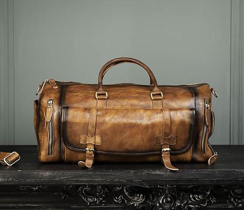 Вместительная мужская дорожная сумка из натуральной кожи