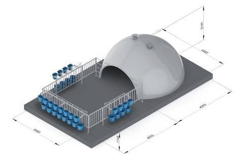 Домик для телят на 16 мест из усиленного стекловолокна, 409,3х458,2х219,9 см