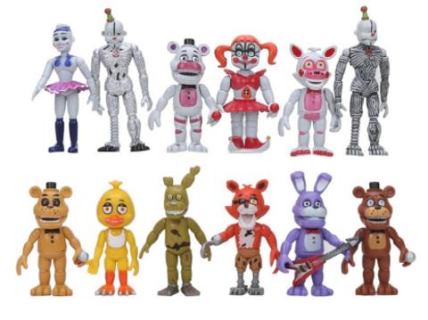 Набор персонажей из 5 ночей с Фредди, 12 шт.
