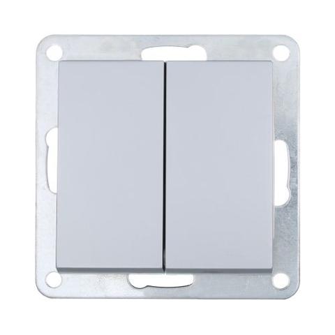 Выключатель двухклавишный (схема 5) 16 A, 250 В~. Цвет Серебристый металлик. LK Studio LK80 (ЛК Студио ЛК80). 841103
