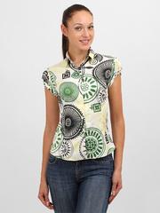3398 блузка женская, черно-зеленая