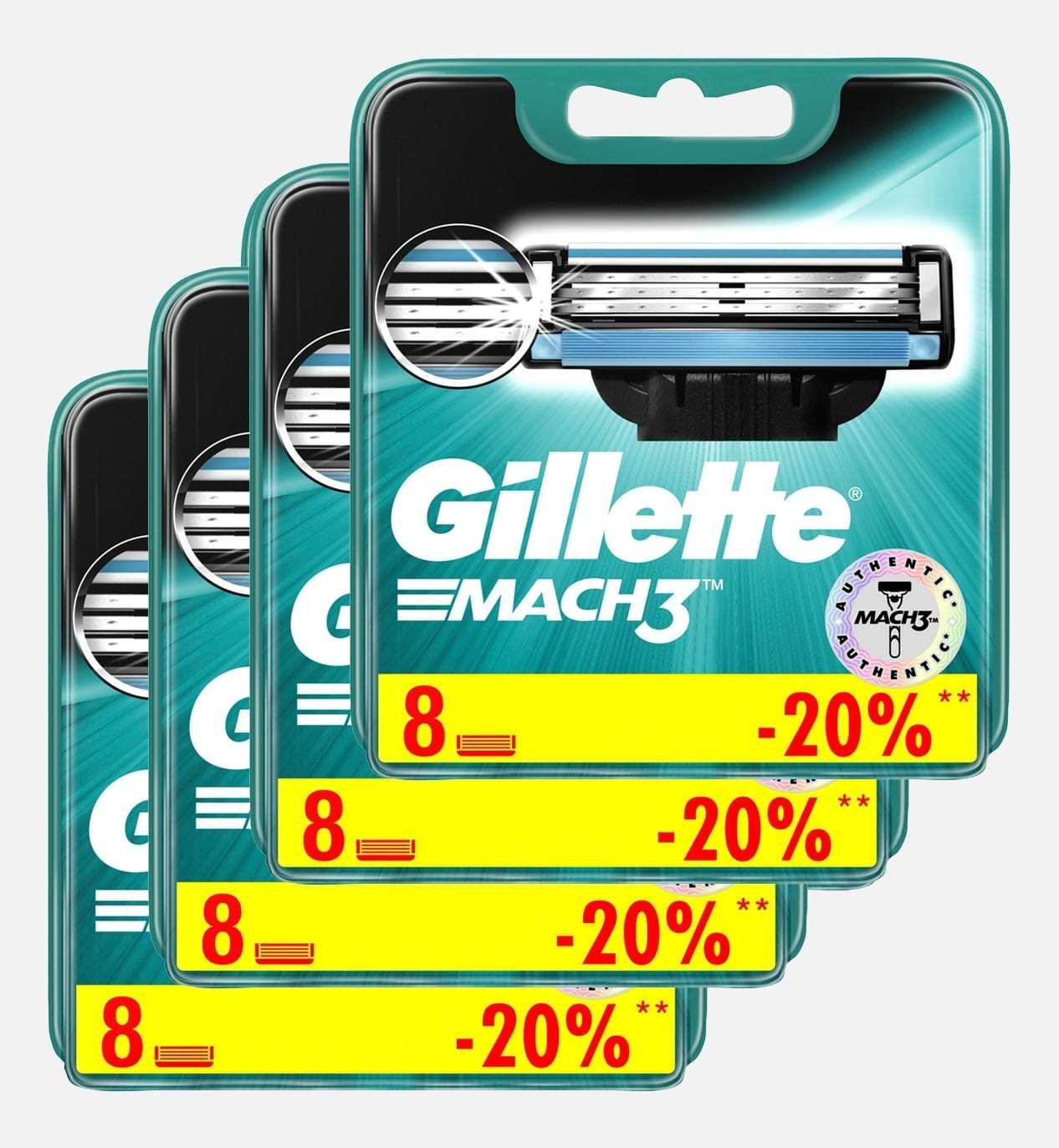 Gillette mach3 комплект (4х8) 32 шт. (Цена за 1 пачку 773р.)