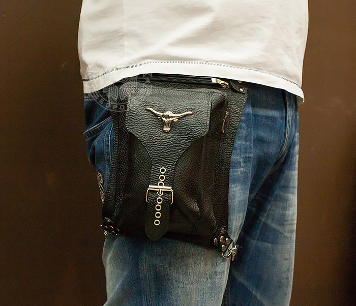BAG369-1 Мужская набедренная сумка ручной работы из натуральной кожи фото 09