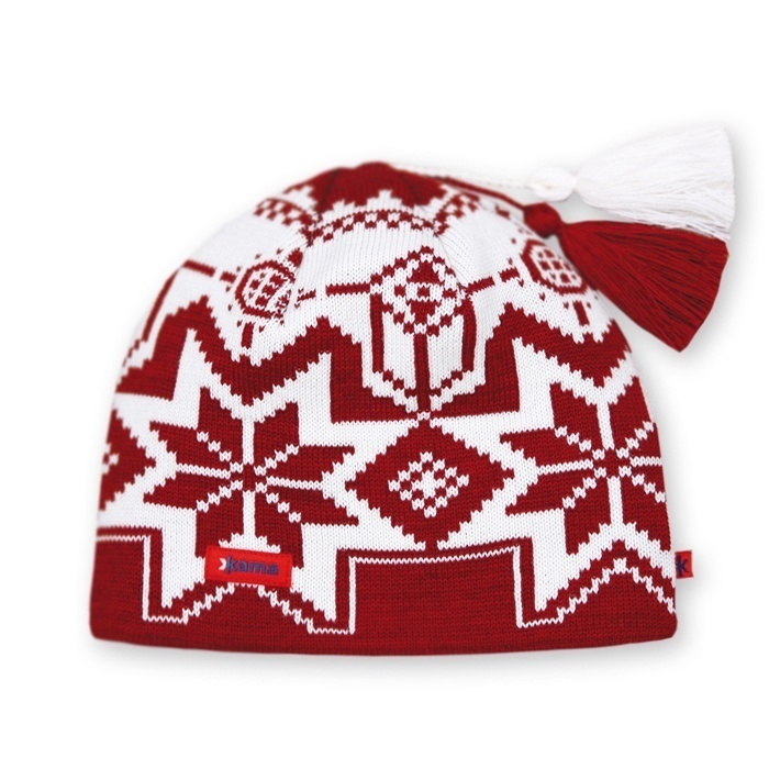 Спортивные шапки Шапка с помпоном Kama A22 Red 16.jpg