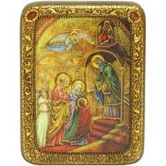Инкрустированная Икона Введение Во Храм Богородицы 20х15см на натуральном дереве, в подарочной коробке