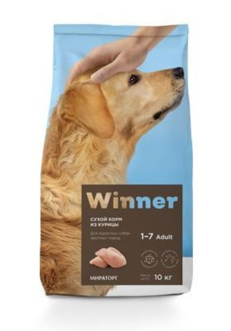 WINNER Корм сухой полнорационный для собак крупны пород из Курицы 10 кг.