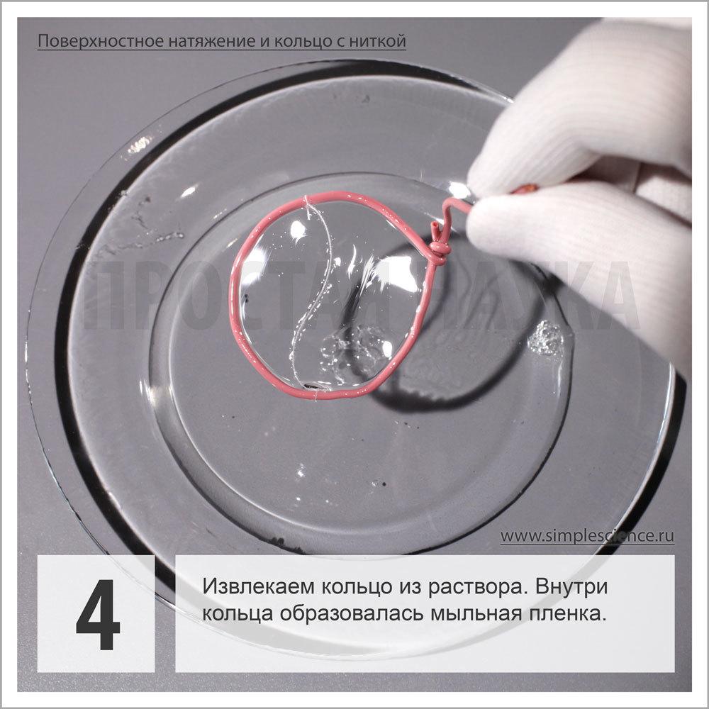 Извлекаем кольцо из раствора. Внутри кольца образовалась мыльная пленка.