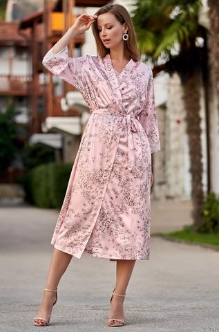 Длинный атласный халат Mia Amore 8699