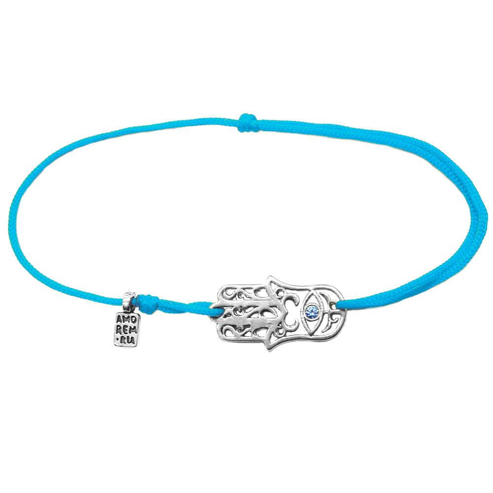 Hamsa bracelet with blue cubic zirconia, sterling silver