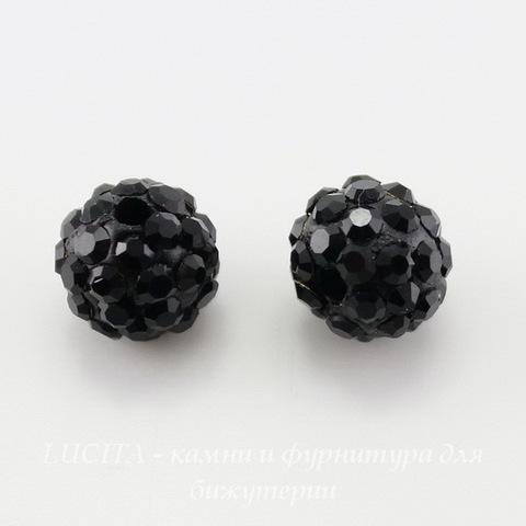 Бусина для шамбалы с фианитами, цвет - черный, 8 мм ()