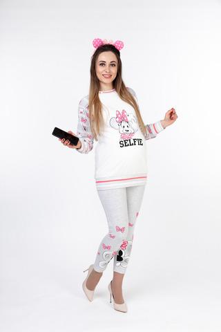 Пижама 10052 серый меланж/белый