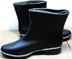 Красивые резиновые сапоги женские Hello Rain Story 1019 Black.