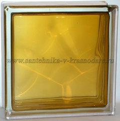 Стеклоблок коричневый волна окрашенный изнутри Vitrablok 19x19x8