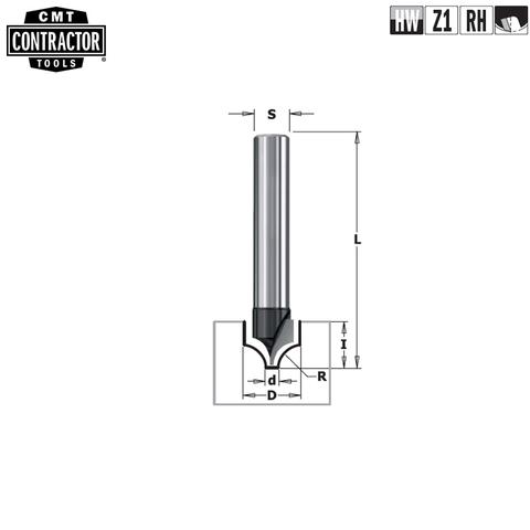 Фреза концевая CMT-contractor для декорирования S=8 D=10x10 CMT Contractor K965-100