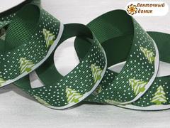 Лента репсовая Ёлочки на зеленом ширина 25 мм