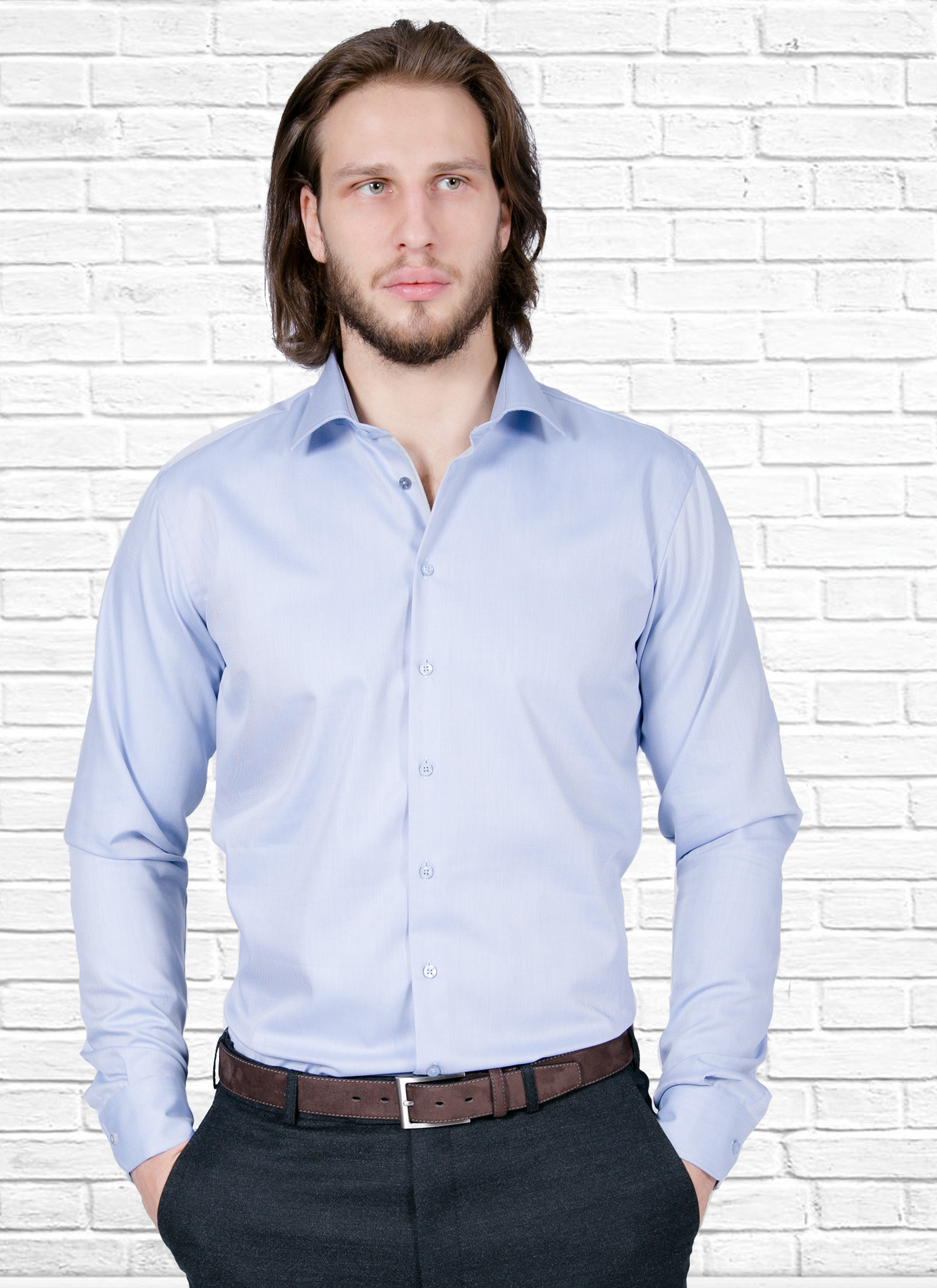 Рубашка Ledub slim fit 0135516_130-250-000-SF-Blue