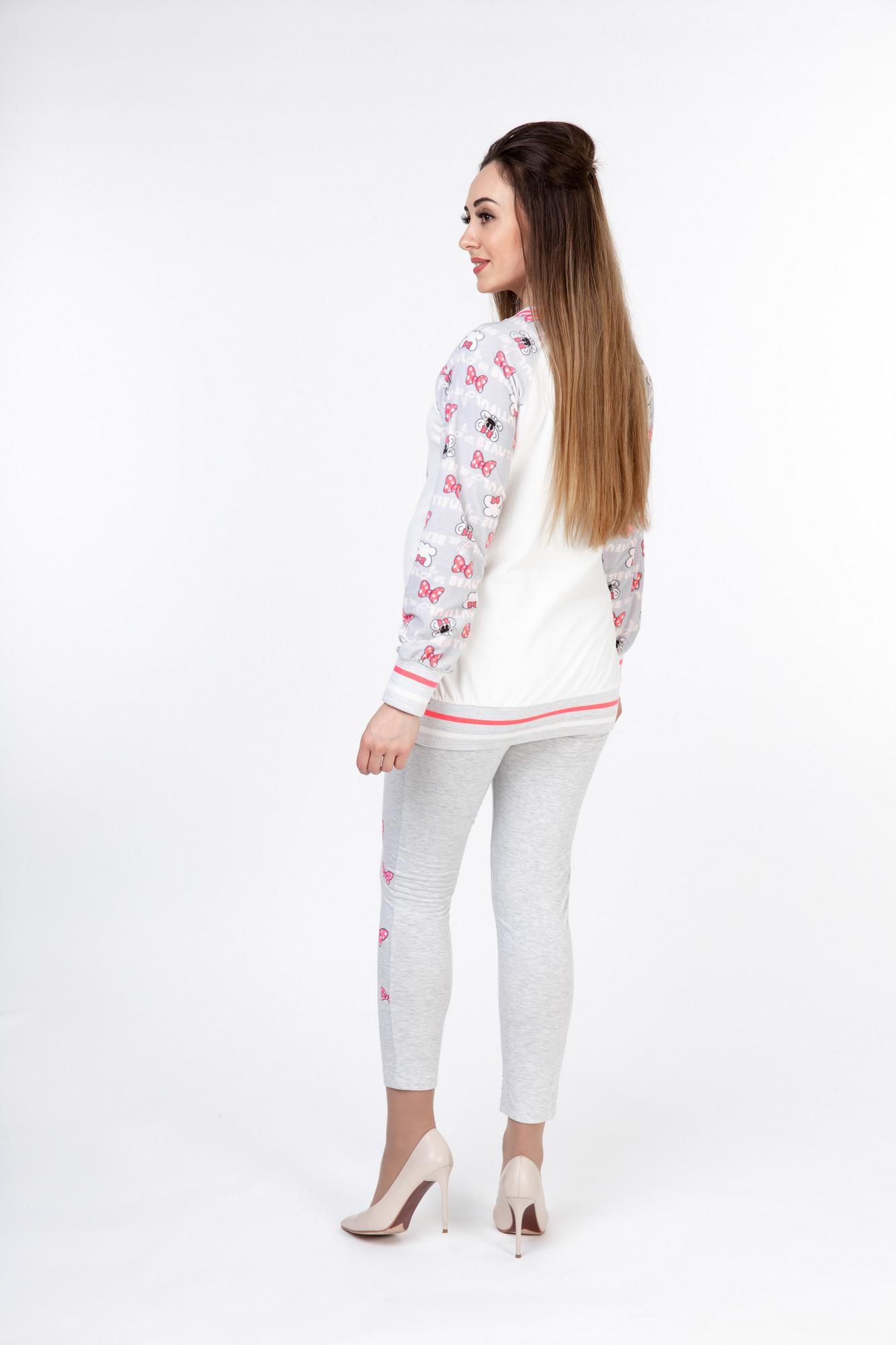 Пижама для беременных и кормящих 10052 серый меланж/белый