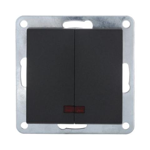 Выключатель двухклавишный с индикаторами (схема 5L) 16 A, 250 В~. Цвет Чёрный бархат. LK Studio LK80 (ЛК Студио ЛК80). 841208