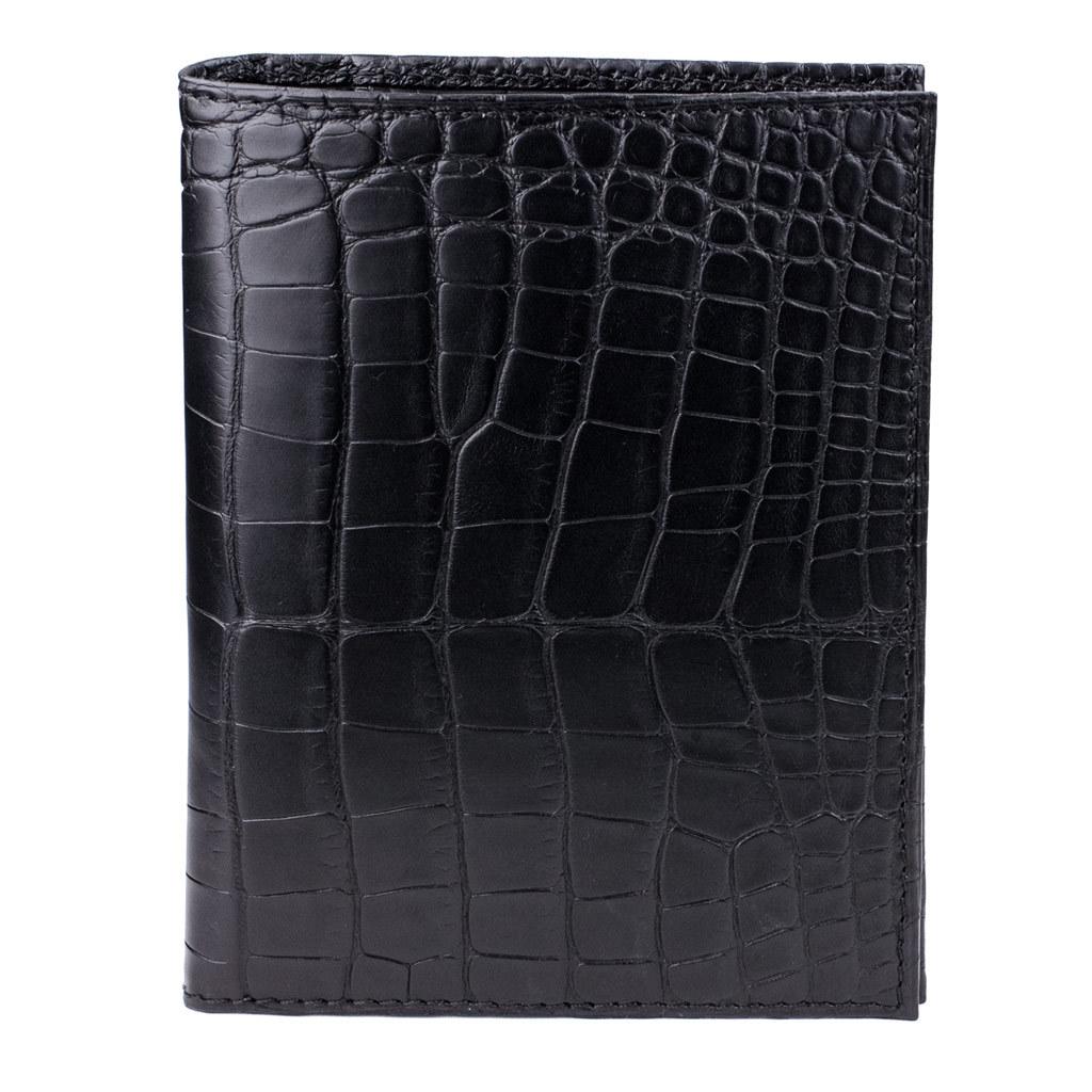 Обложка для паспорта и автодокументов Paris Platinum из натуральной кожи крокодила, черного цвета