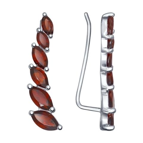Серьги-зажимы/каффы из серебра с гранатами