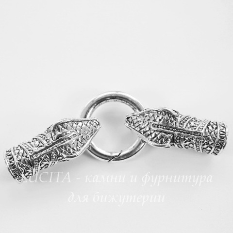 """Замок для шнура 10 мм из 3х частей """"Змея"""", 78х25 мм (цвет - античное серебро)"""