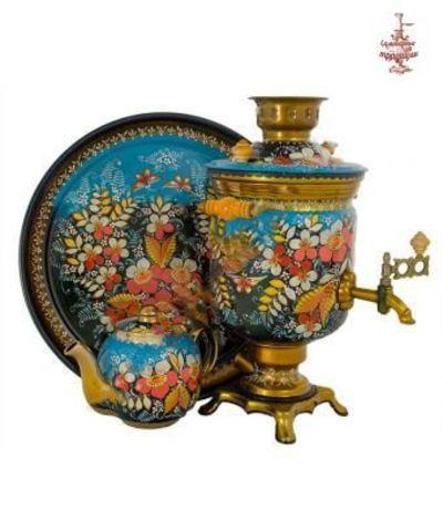 Самовар «Сочная клубничка на голубом» электрический формой банка 3л в наборе с подносом и чайником
