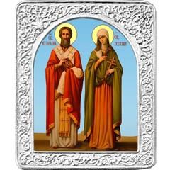 Святые Киприан и Устинья. Маленькая икона в серебряной раме.